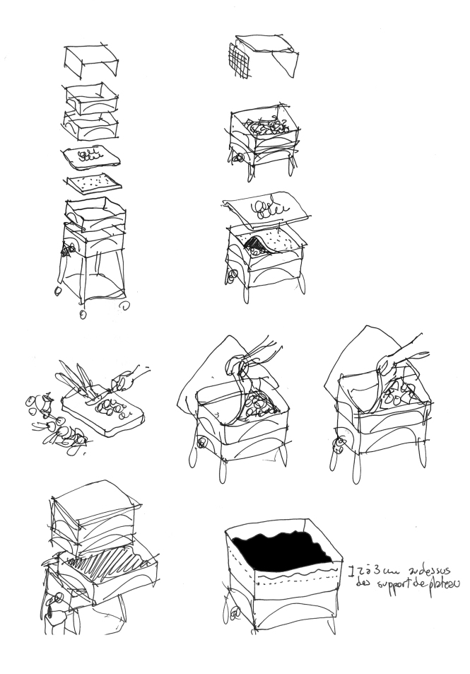 Croquis préparatoires aux illustrations.